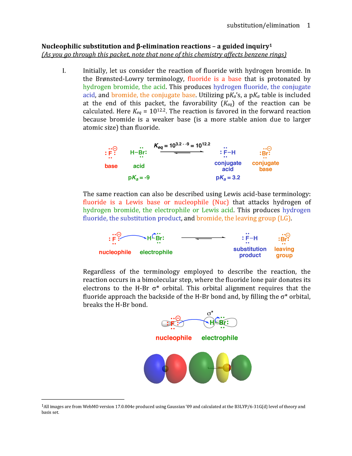 Substitution and Elimination Reactions KEY - CAS CH 203: Organic