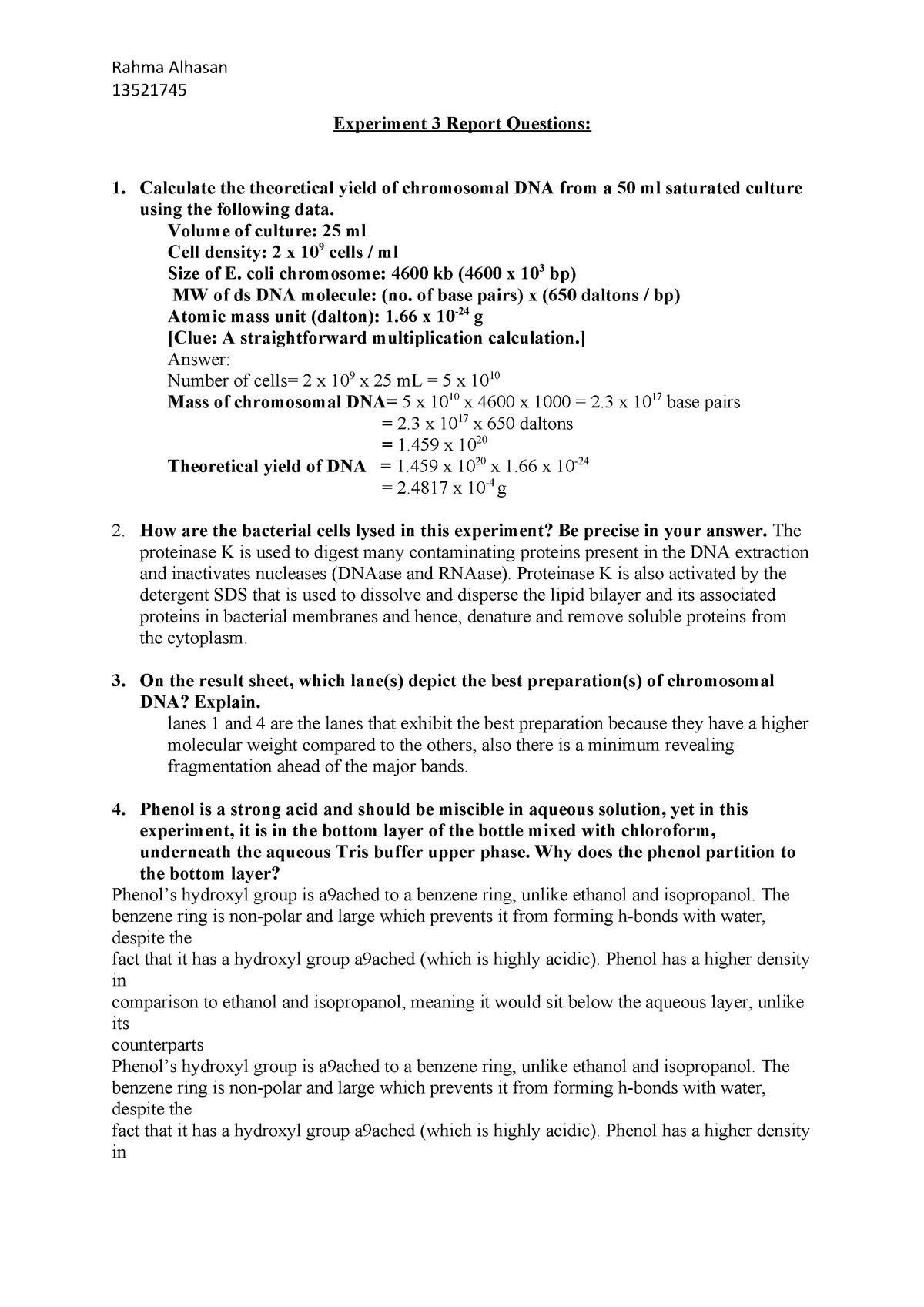 Experiment 3 Report Molecular Biology C10242v1 Uts Studocu