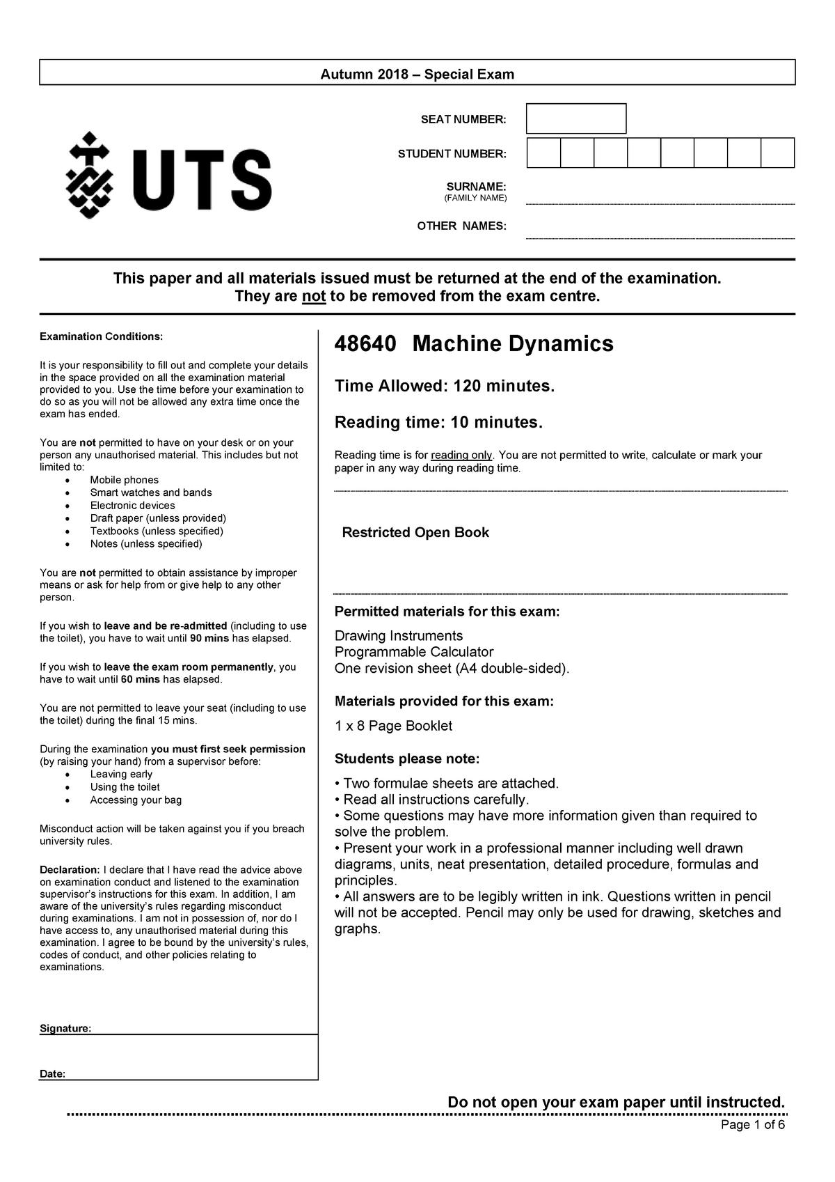 Exam 2018 - 048640 : Machine Dynamics - StuDocu