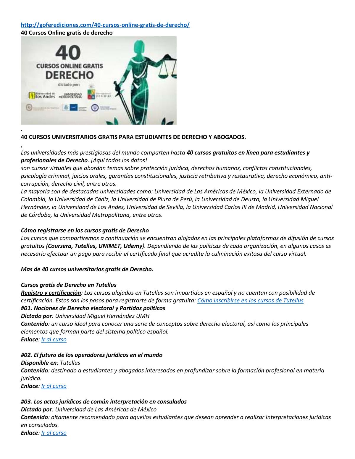 40 Cursos Online Gratis De Derecho Studocu