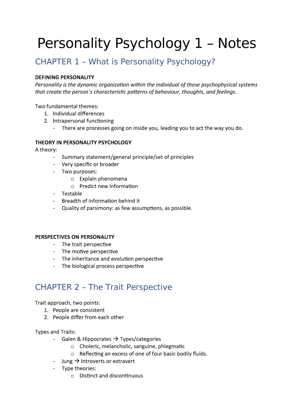 Personality Psychology 1 – Notes - - ELTE - StuDocu