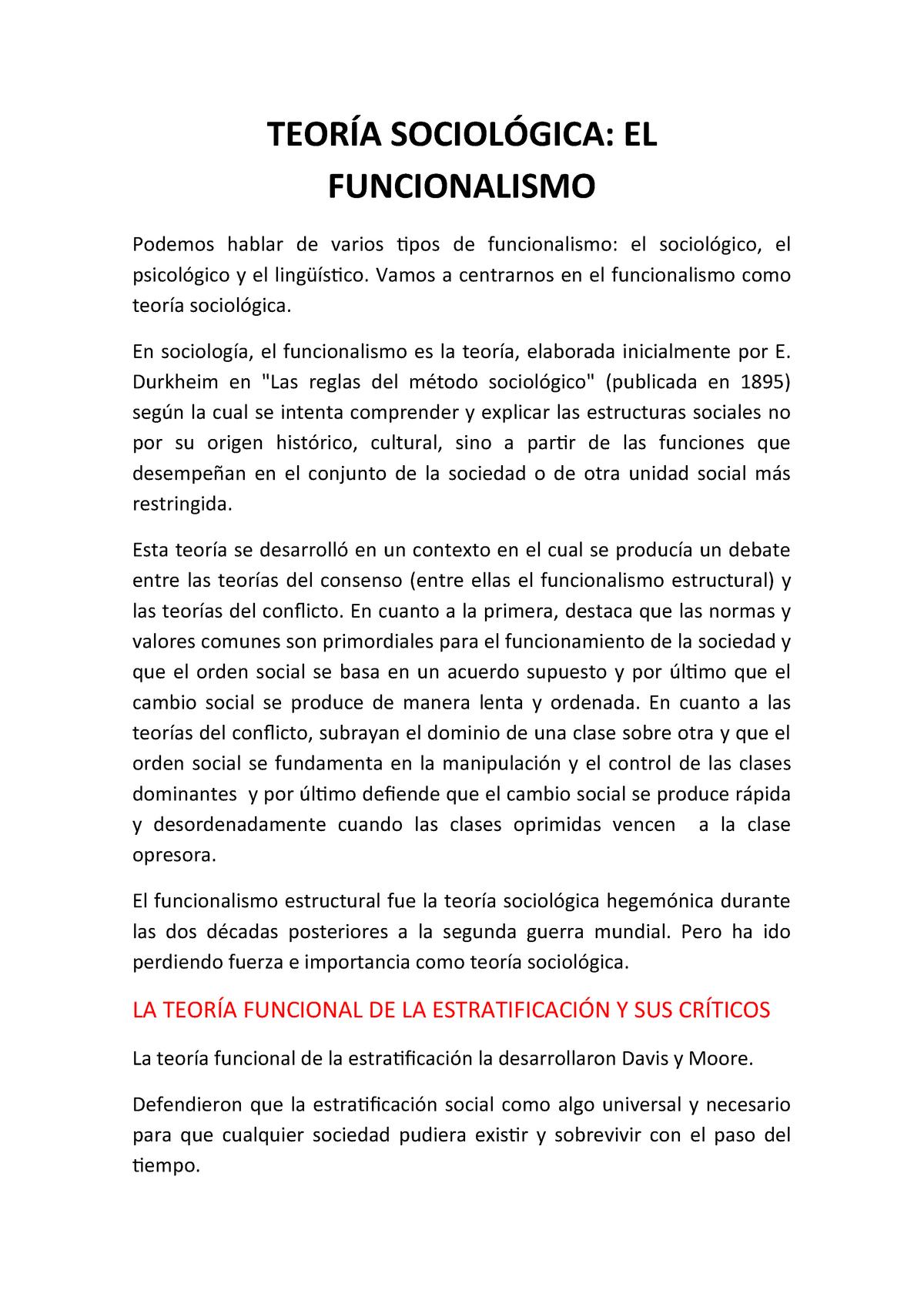 Teoría Sociológica Funcionalismo 218 13892 Uc3m Studocu