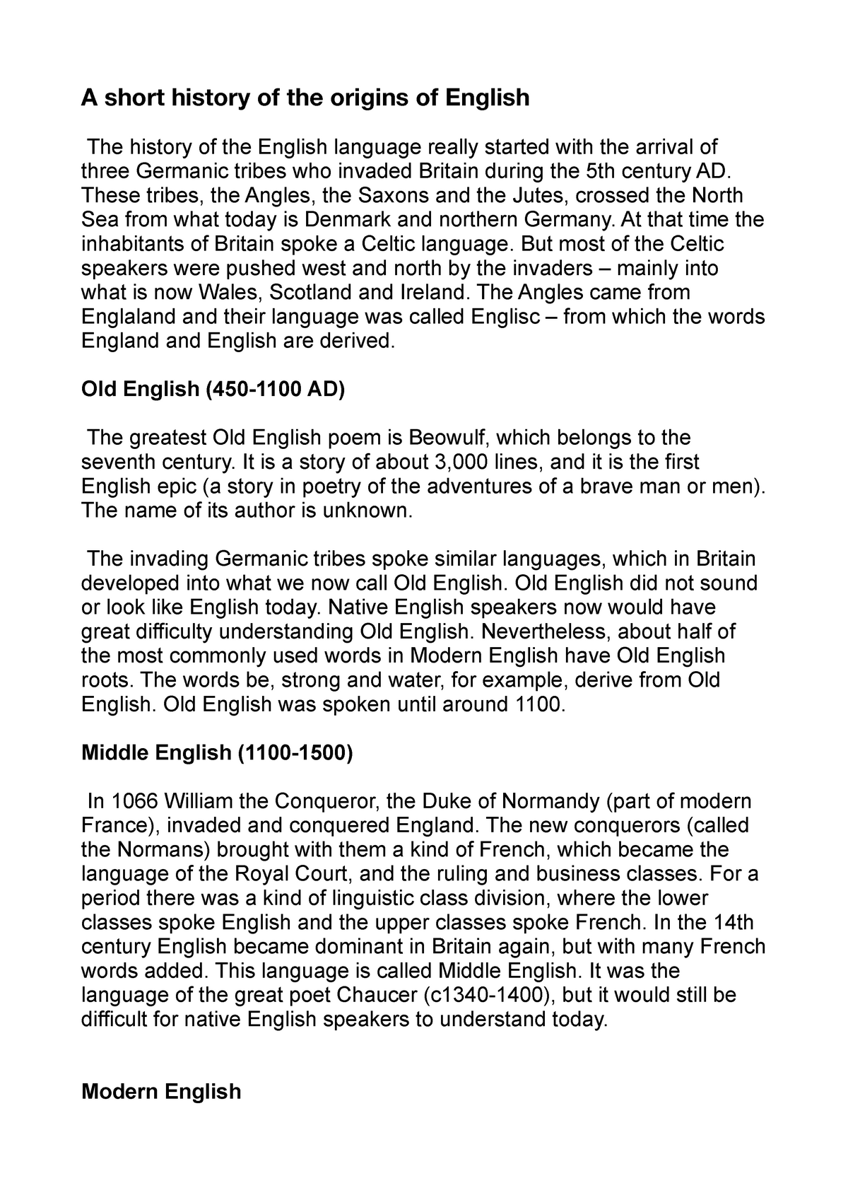 Origins Of English Pdf Nota 75 13069196 Studocu