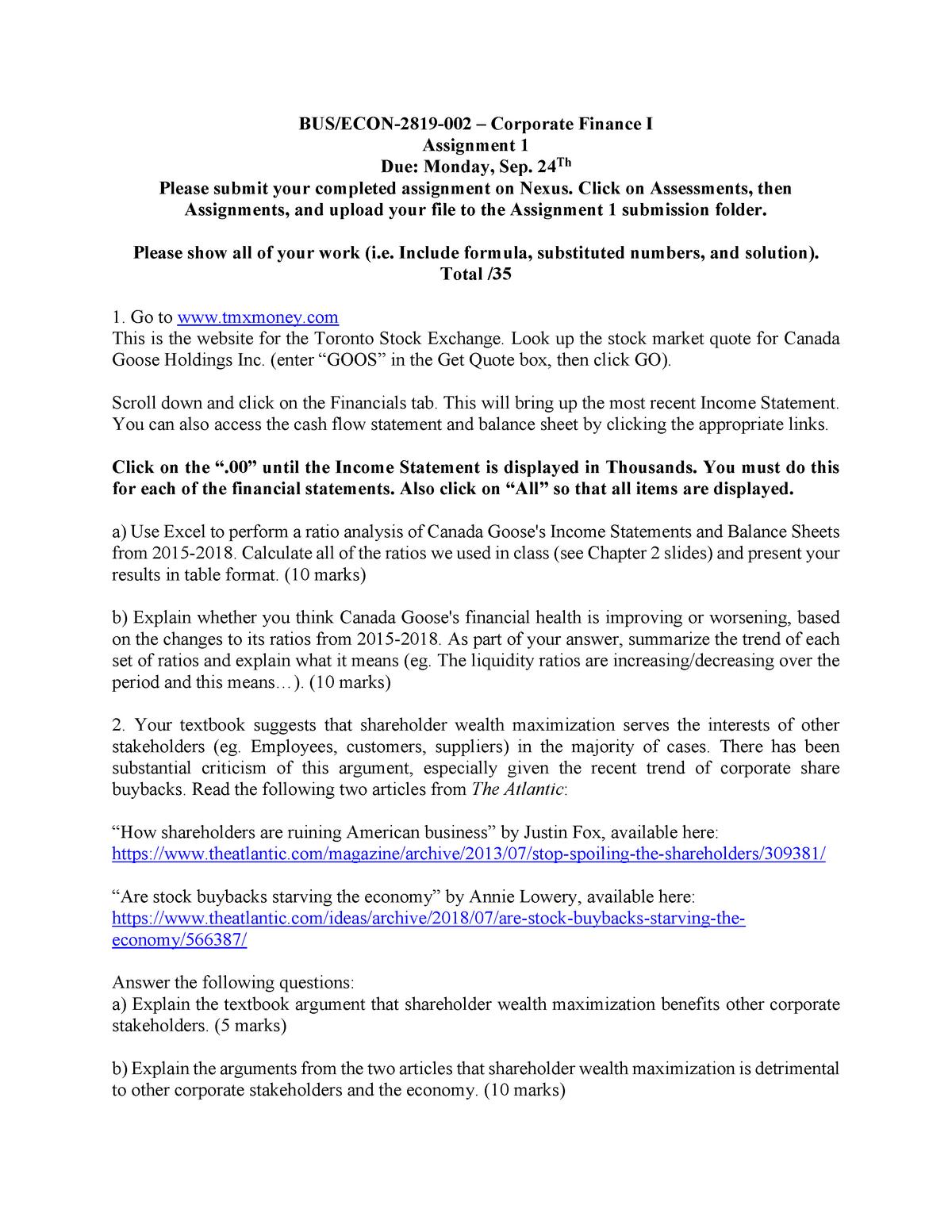 Corporate Finance Assignment 1 - ECON-2819 - U of W - StuDocu