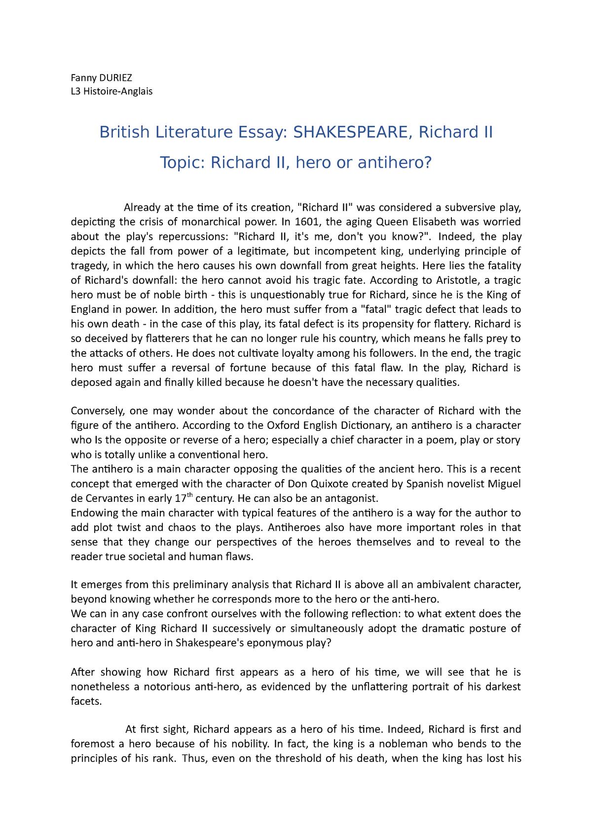 king richard ii essay