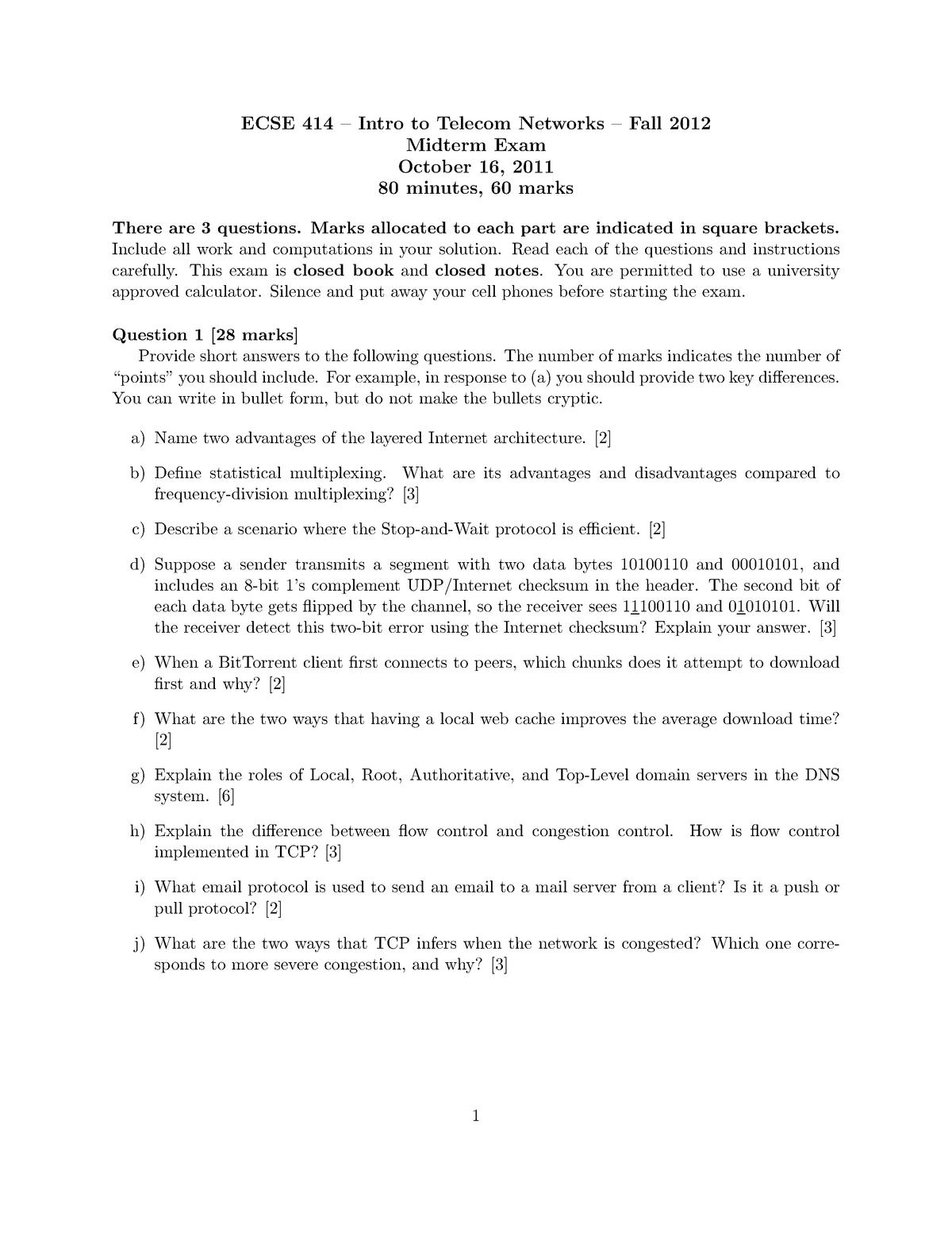 Exam 2011 - Ecse 414: Introduction to Telecommunication Networks
