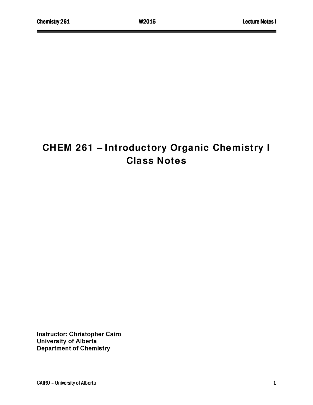 Organic Chemistry - Lecture notes - Chem261 Notes - StuDocu