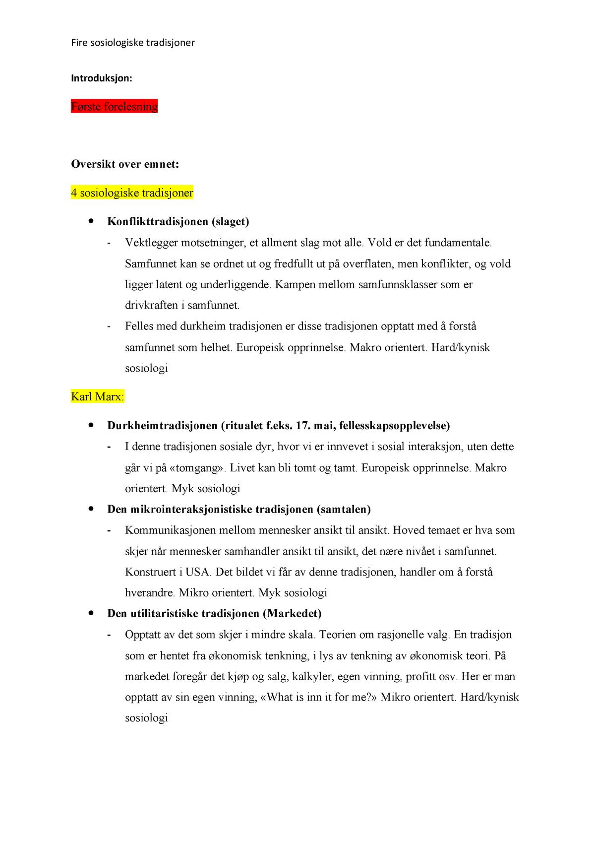 4 sosiologiske tradisjoner SO FAG1100 1 USN StuDocu