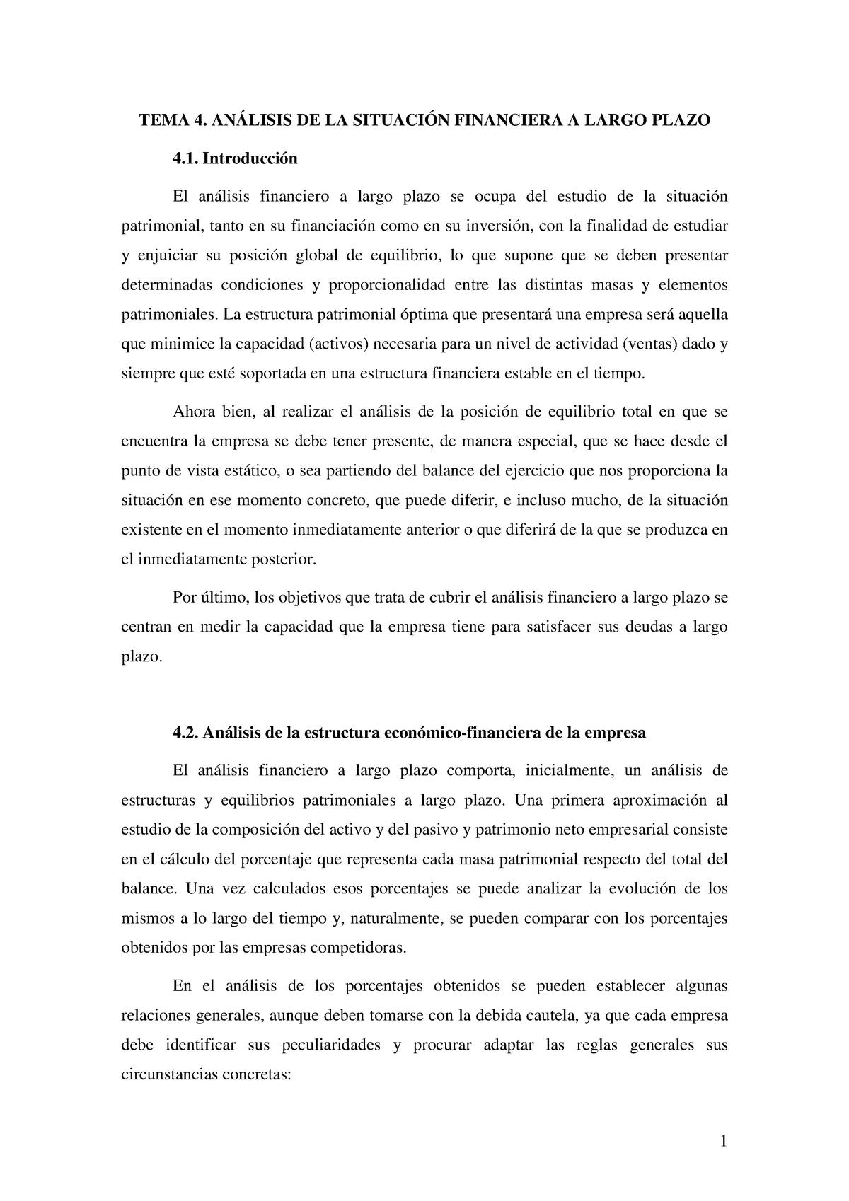 Tema 4 Apuntes 4 Análisis Contable Y Financiero Studocu