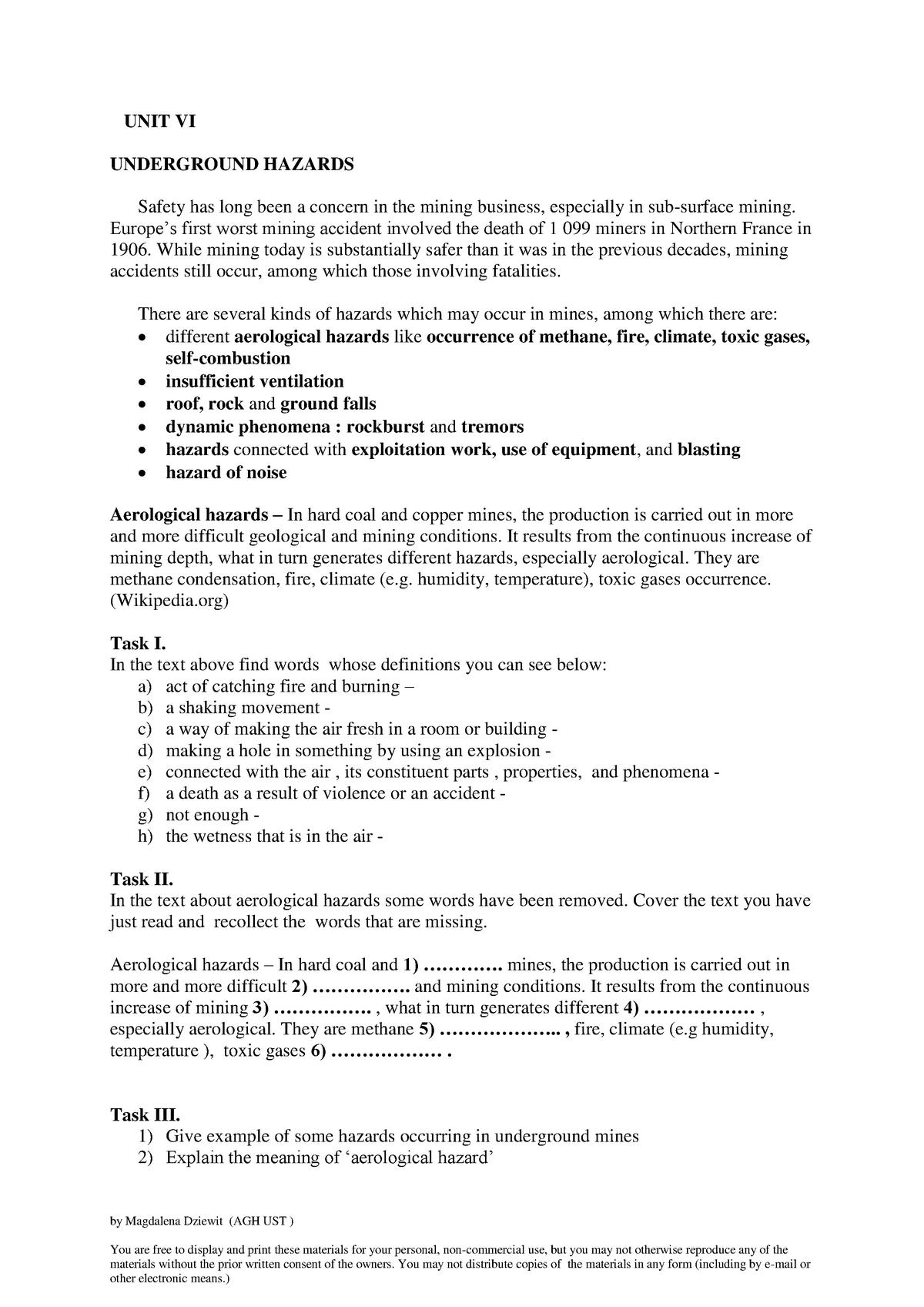 UNIT VI students - Specjalistyczny język angielski - WGIG