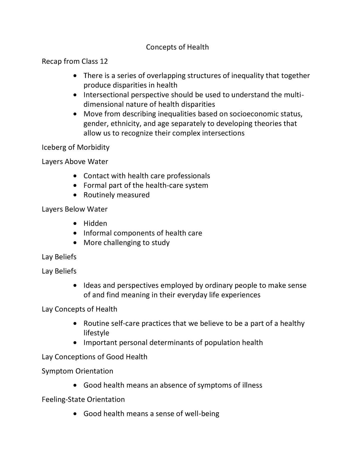 Concepts of Health - NURS1051: Relational Nursing II - StuDocu