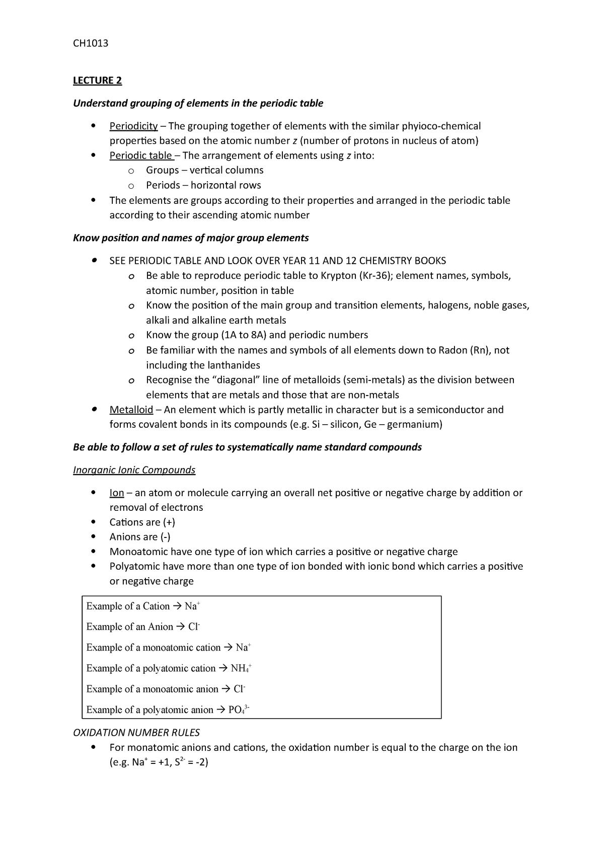 Lecture 2 - Periodic Table - CH1001:03 - JCU - StuDocu