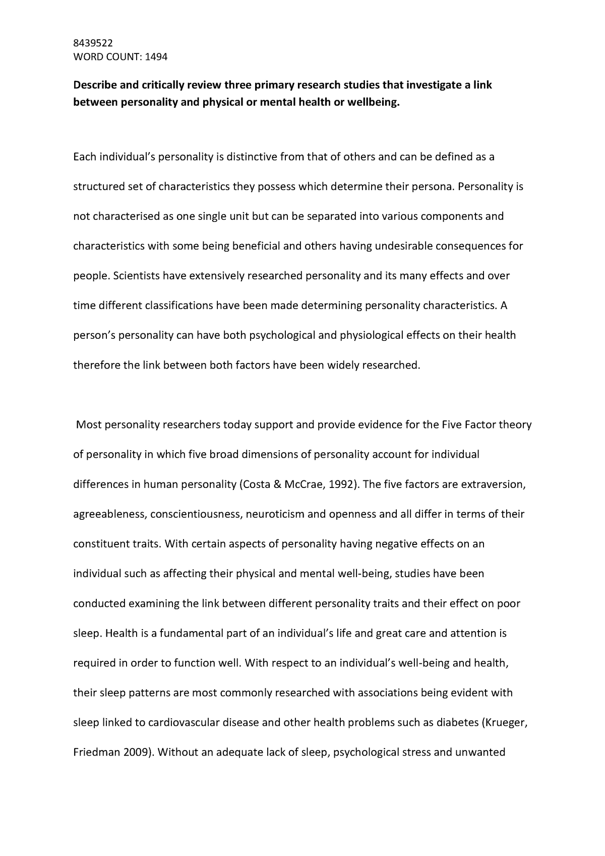 Essay: Describe and critically review three primary research