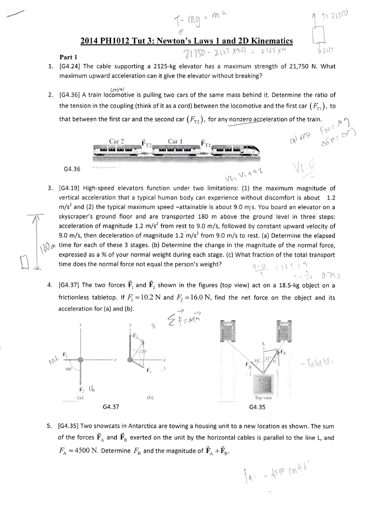 Physics A Tutorial 3 Solution - PH1012: Physics A - StuDocu