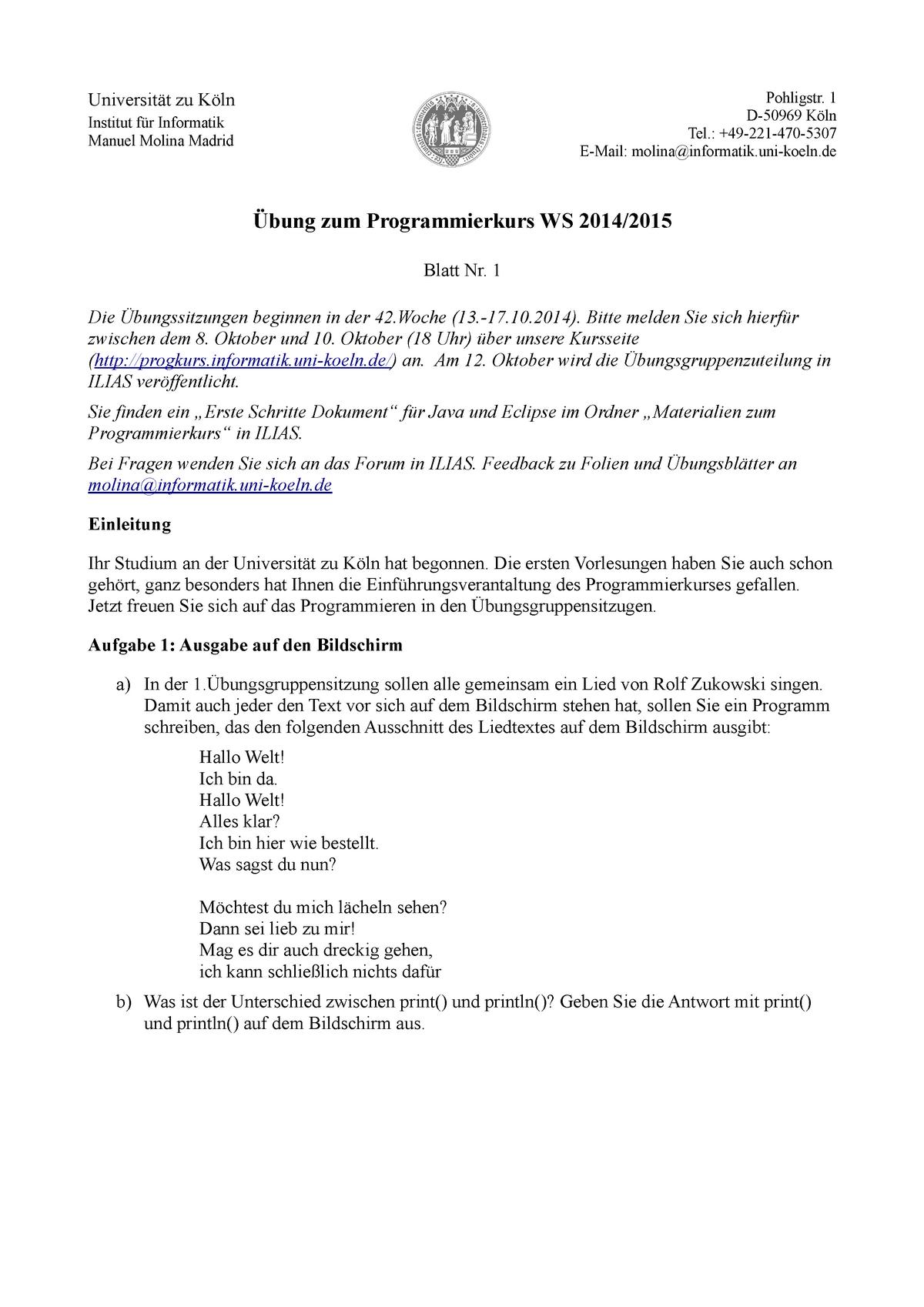 Pflichtaufgaben Aufgaben übung Zum Programmierkurs Ws