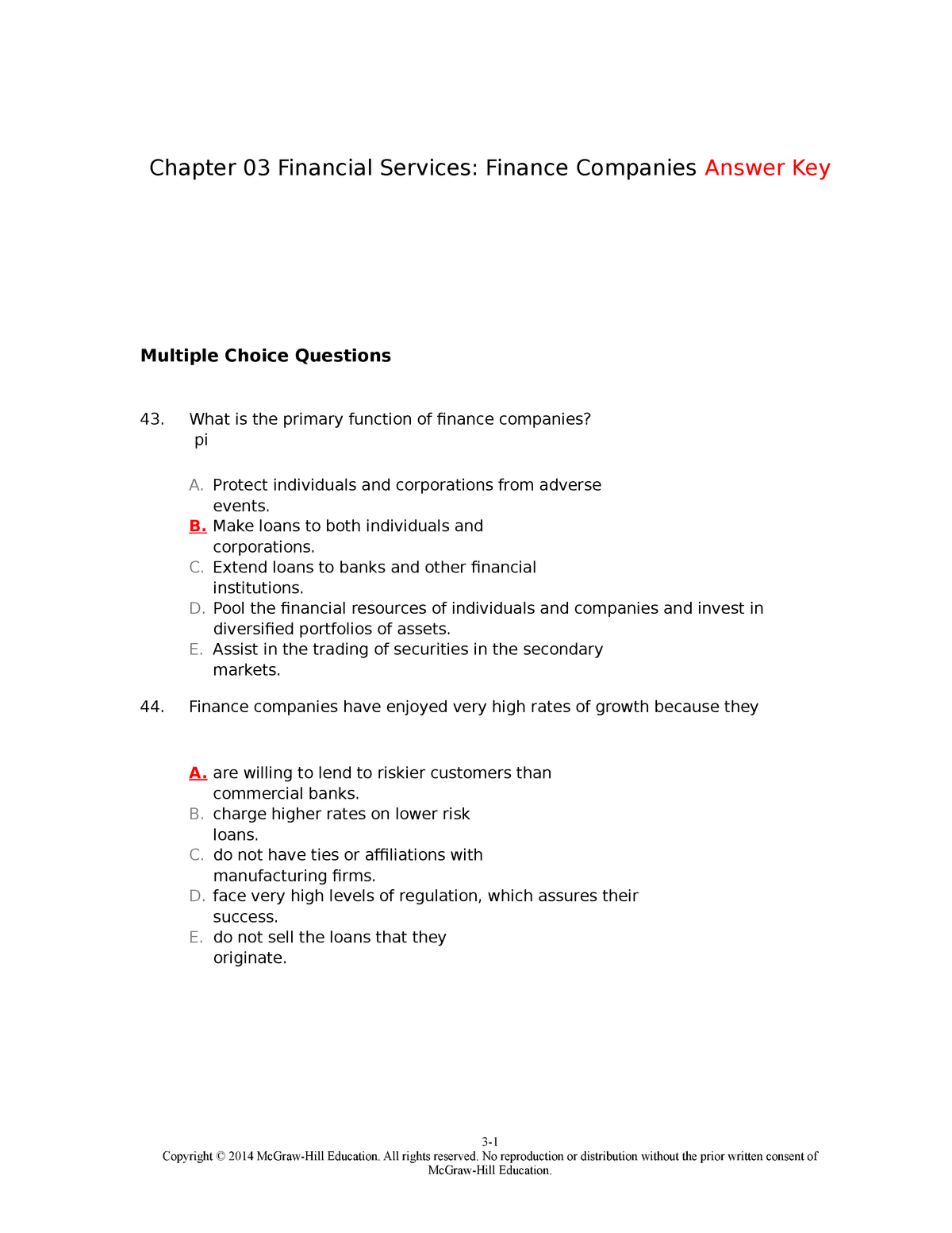 TBChap 003 - test bank - FINA 365 Financial Institutions