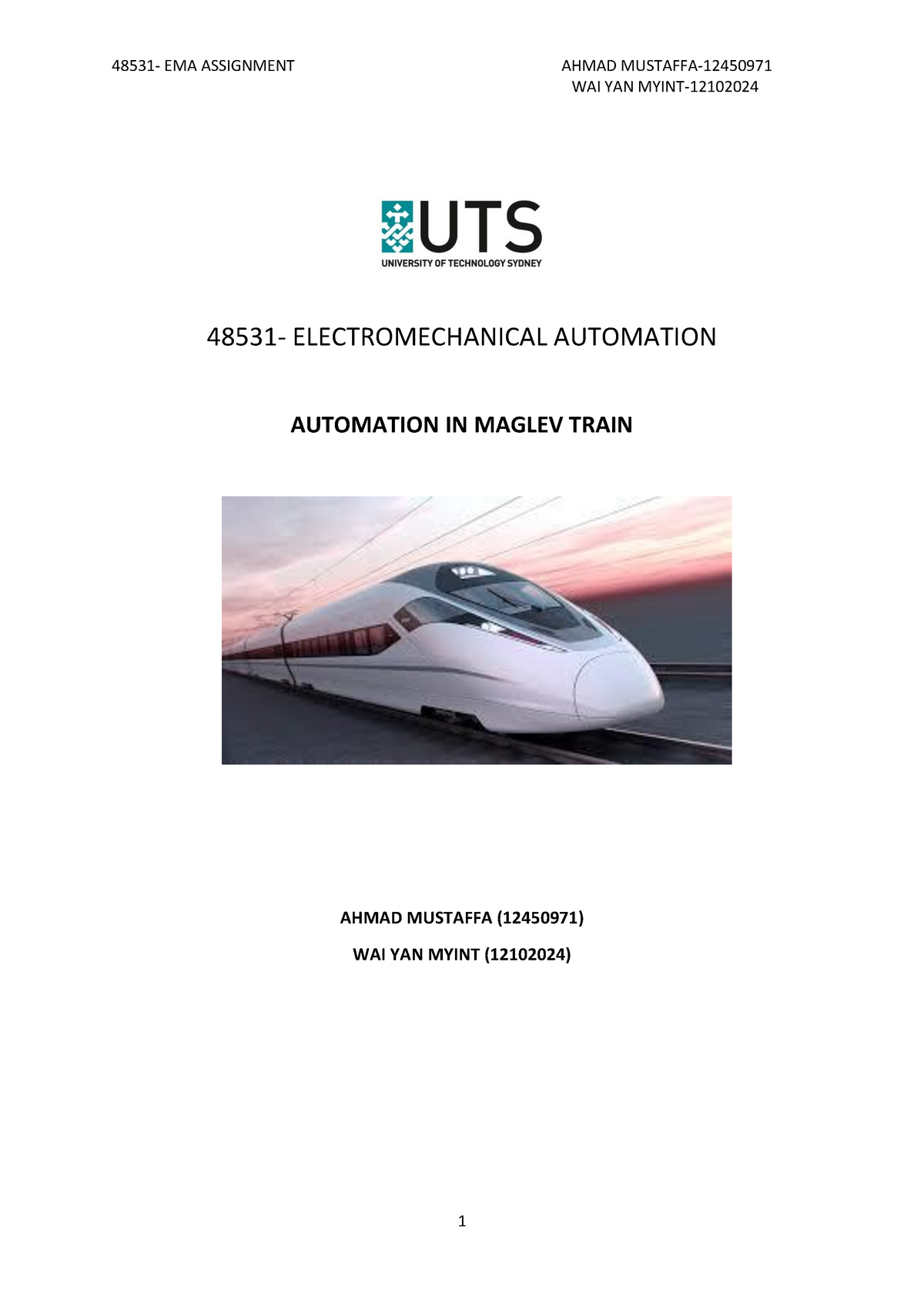Assignment related to Automation in Maglev Train - 048531