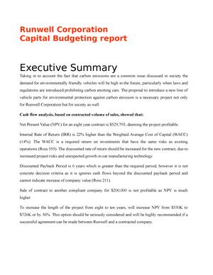 essay runwell corporation capital budgeting report grade b
