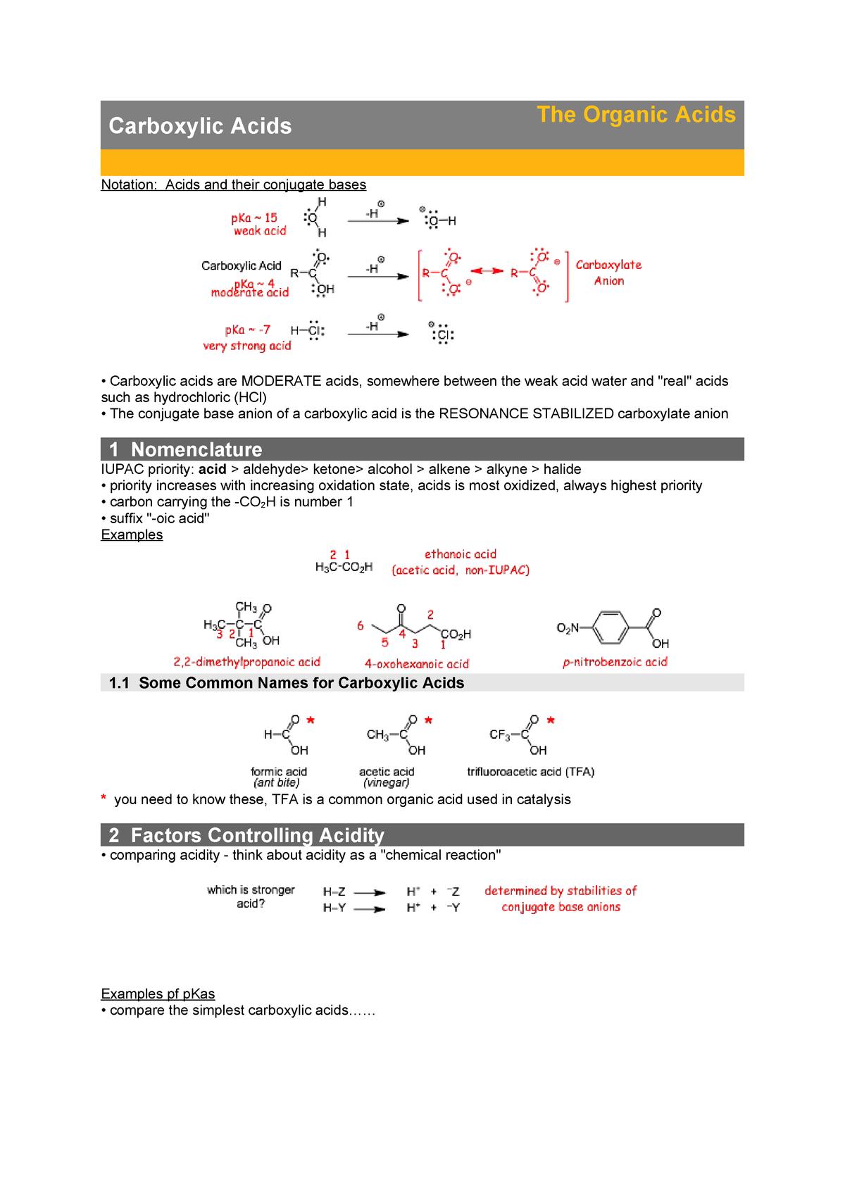 Carboxylic Acids The Organic Acids Chm 234 Asu Studocu