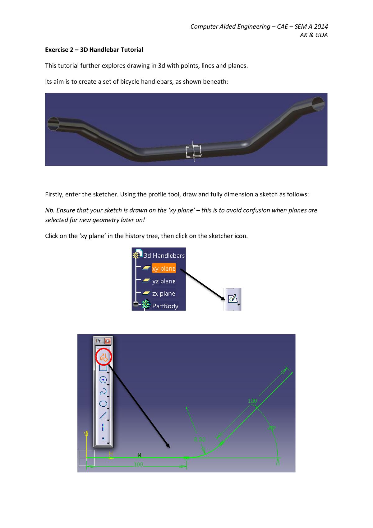 3D Handlebar Tutorial 4 - Computer Aided Design - StuDocu