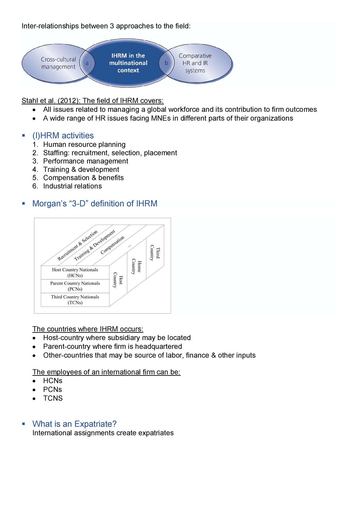 International Human Resource Management WS1718