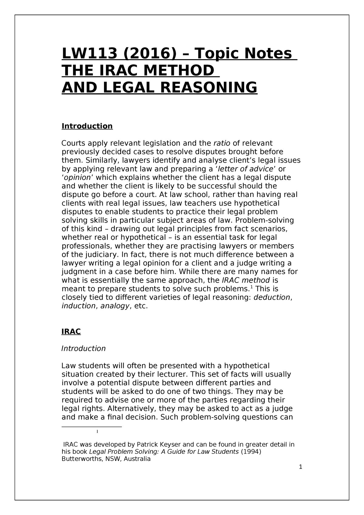 Lw113 2016 The Irac Method And Legal Reasoning Docx