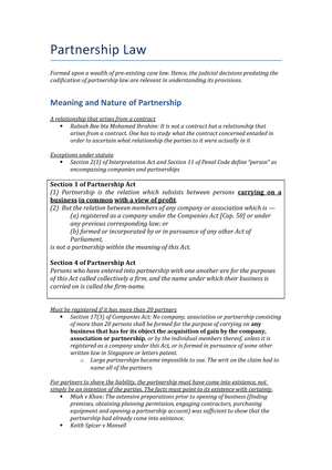 9 Partnership Law - Summary of essential readings / class