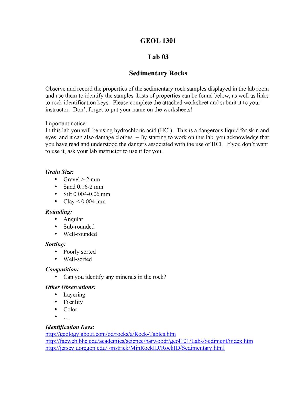 Lab 3 - Sedimentary Rocks - GEOL 1301: EARTH SYSTEMS - StuDocu