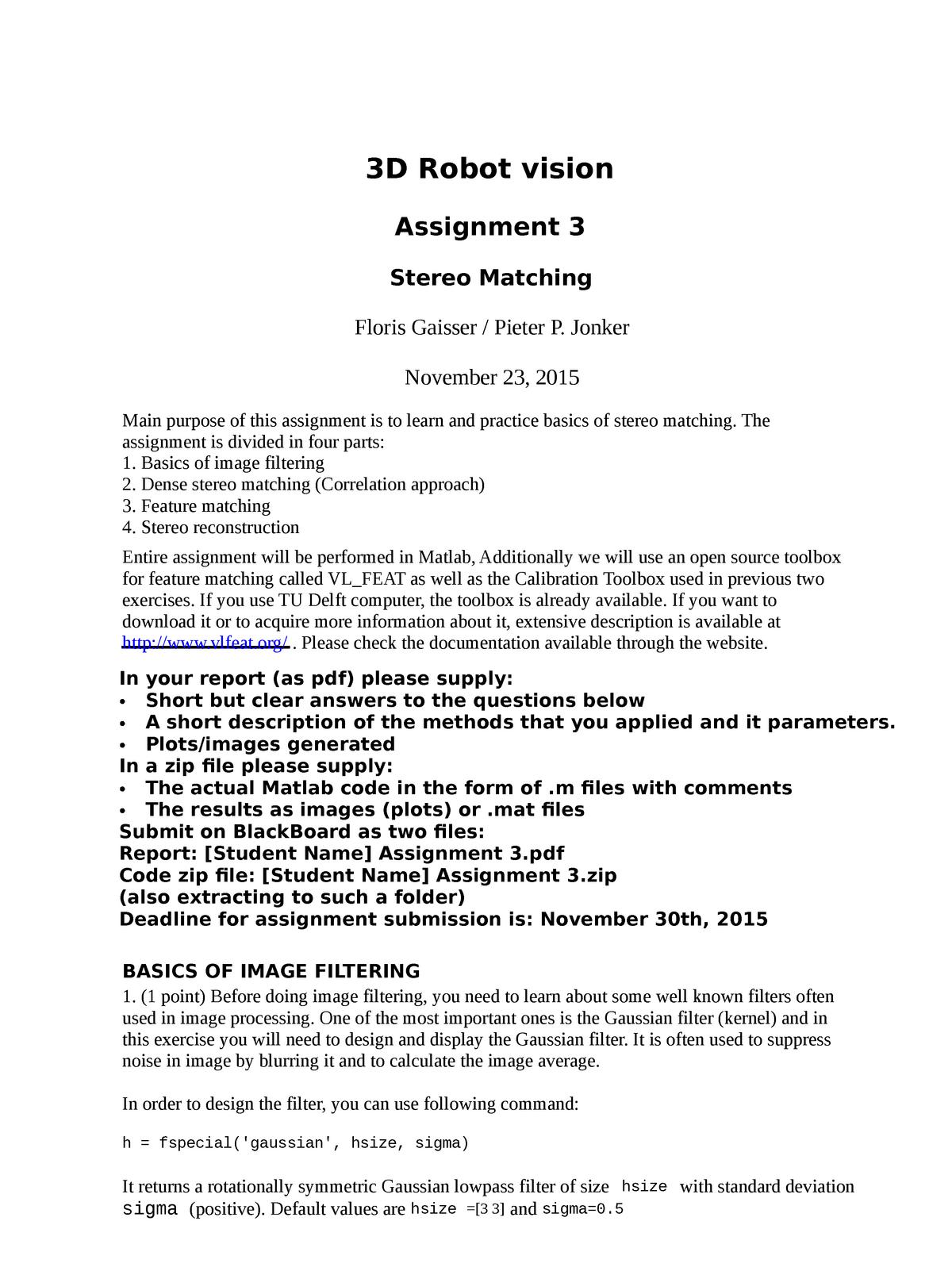 3D Robot Vision Assignment 3 - ME41030: 3D Robot Vision