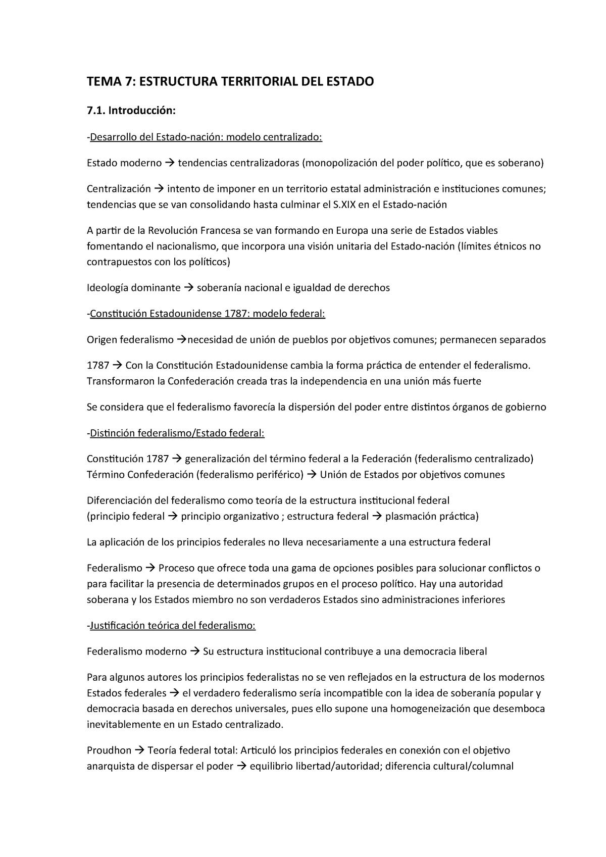 Tema 7 Estructura Territorial Del Estado Manual De Ccpp De