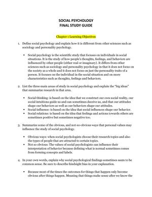 Final study guide - Summary Social Psychology - SOP 3004