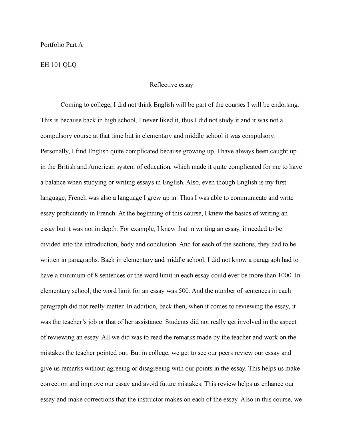 Library Essay In English  Essay About Science also What Is The Thesis Of A Research Essay Part A Reflective Essay  Eh  English Composition I  Uab  English Essay Writing Examples