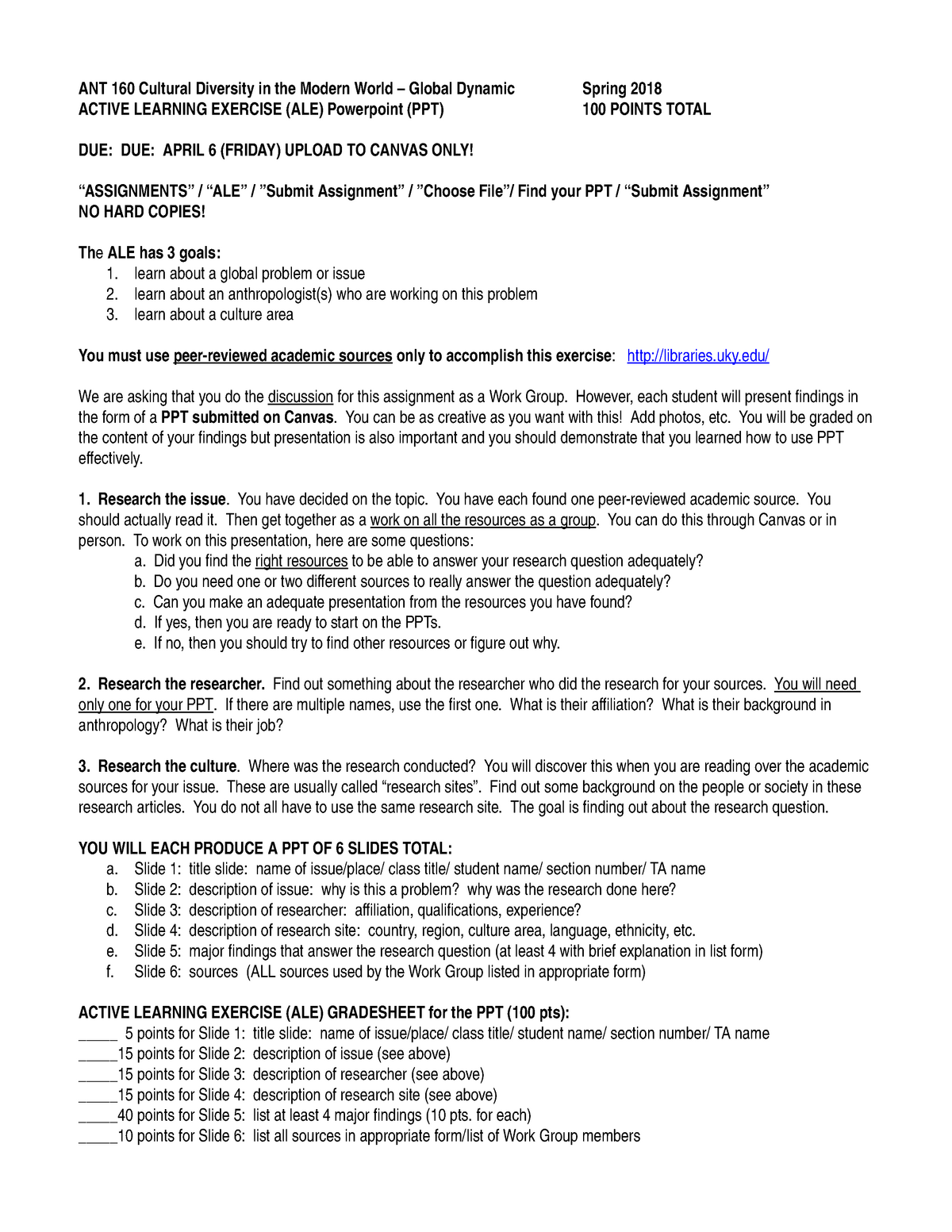 Active Learning Exercise notes - ANT160: Cultural Diversity In The