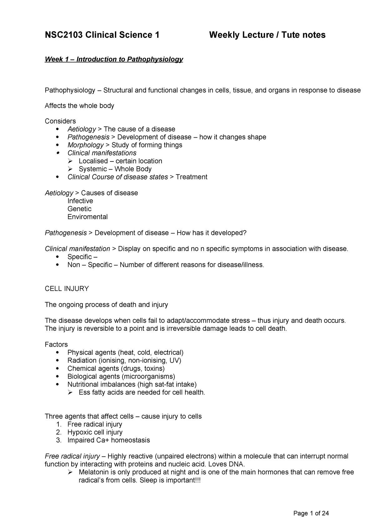 Clinical Science 1 Lecture notes - NCS2103 - ECU - StuDocu