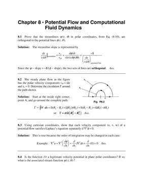 Solution Manual Fluid Mechanics White 5th CH 8 - WB2542 T1 S
