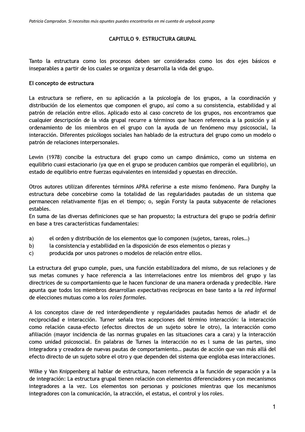 Capitulo 9 Estructura Grupal Psicología De Los Grupos