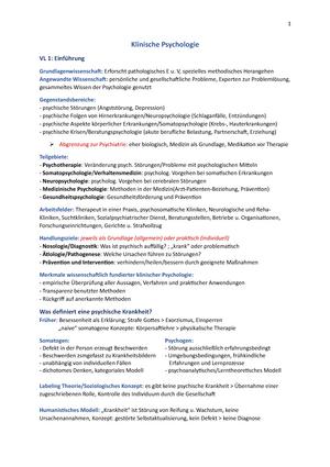 Klinische Psychologie Skript - Einführung in die Klinische ...