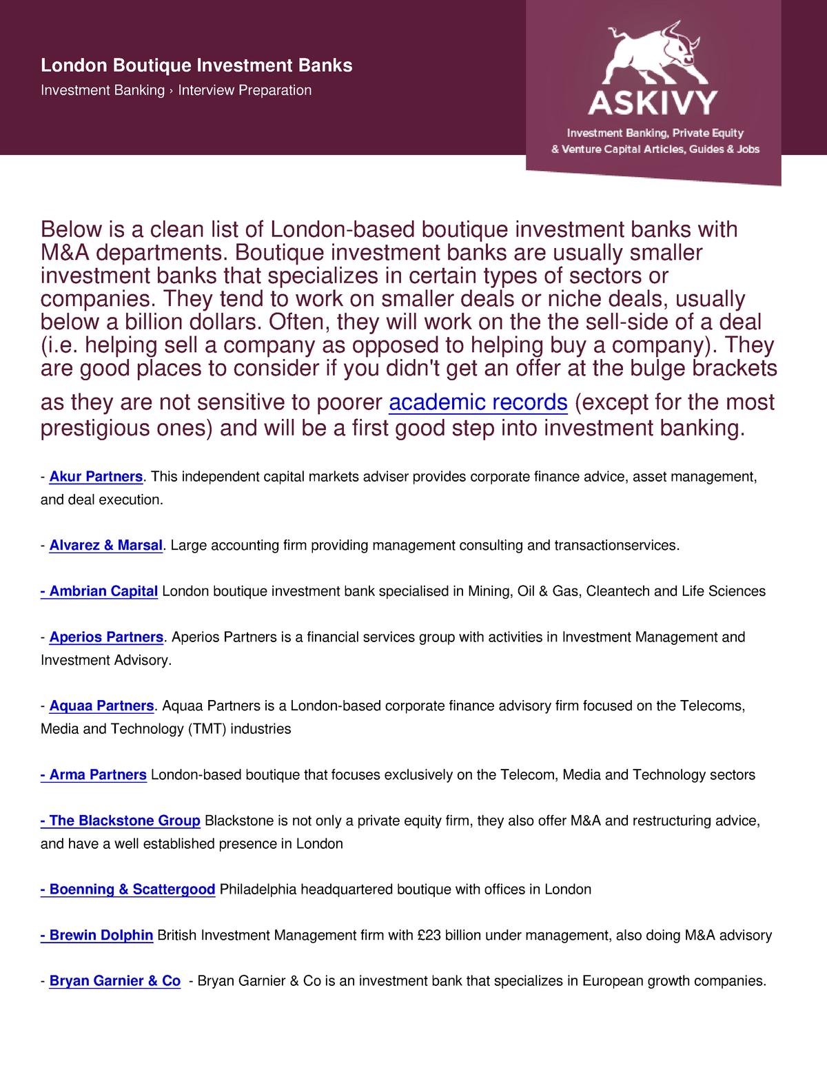 Askivy-article-london-boutique-investment-banks - StuDocu