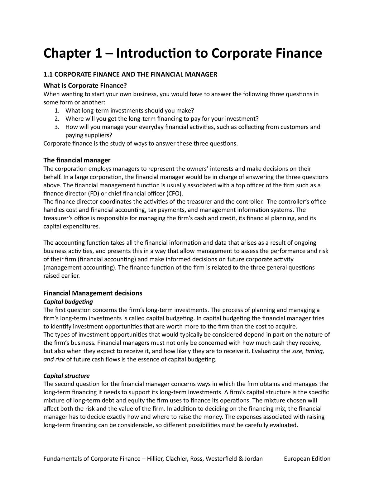 Fundamentals Of Corporate Finance Chapter 1 Studeersnel