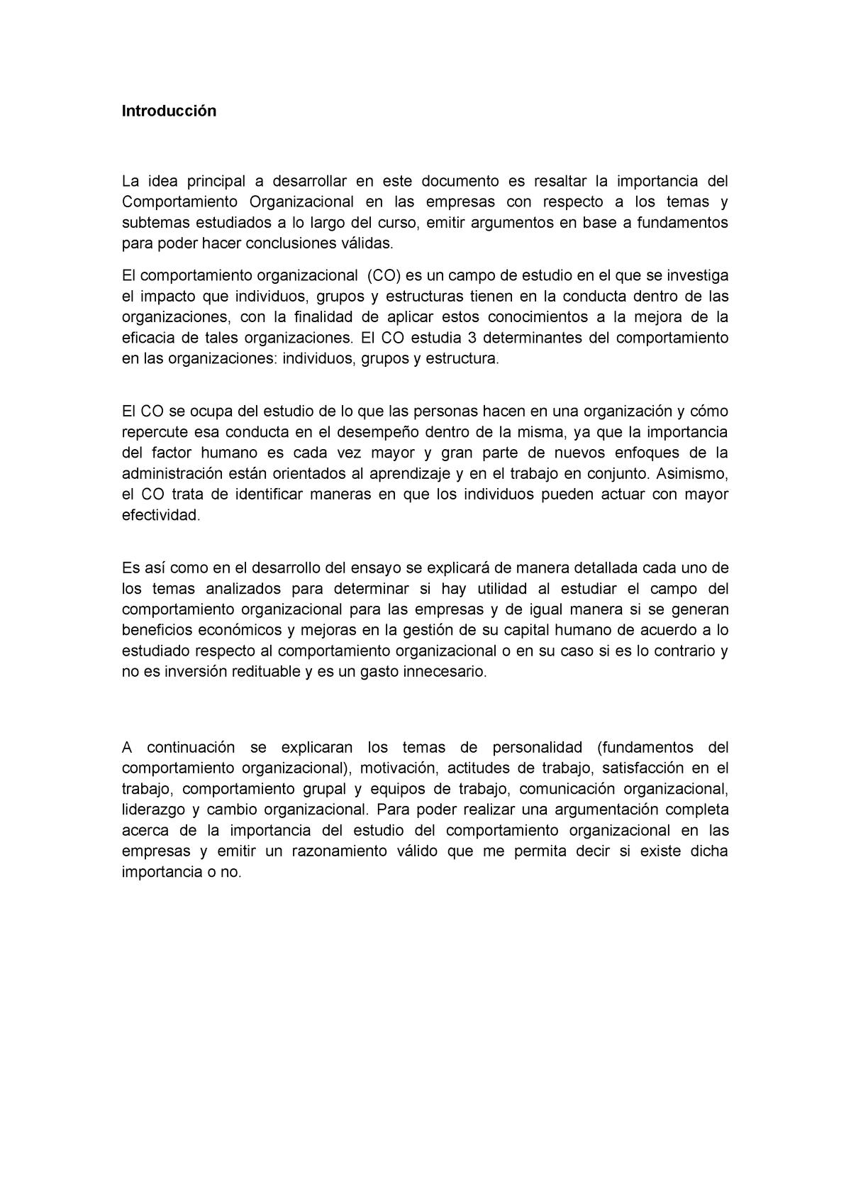 Ensayo Sobre El Comportamiento Organizacional Unitec Studocu