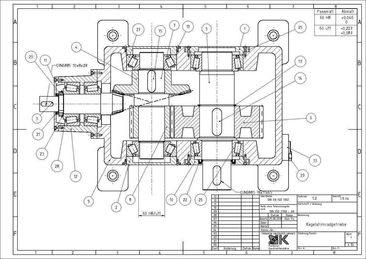 Stirnradgetriebe Zeichnung