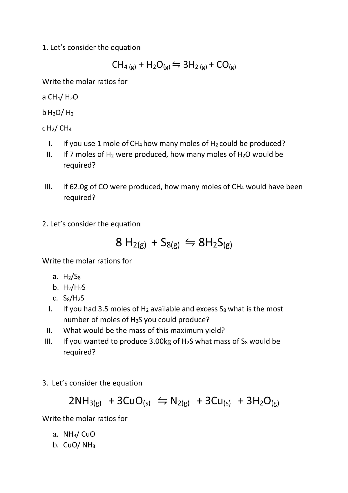 Mole ratios worksheet - questions and answers - CHEM1003