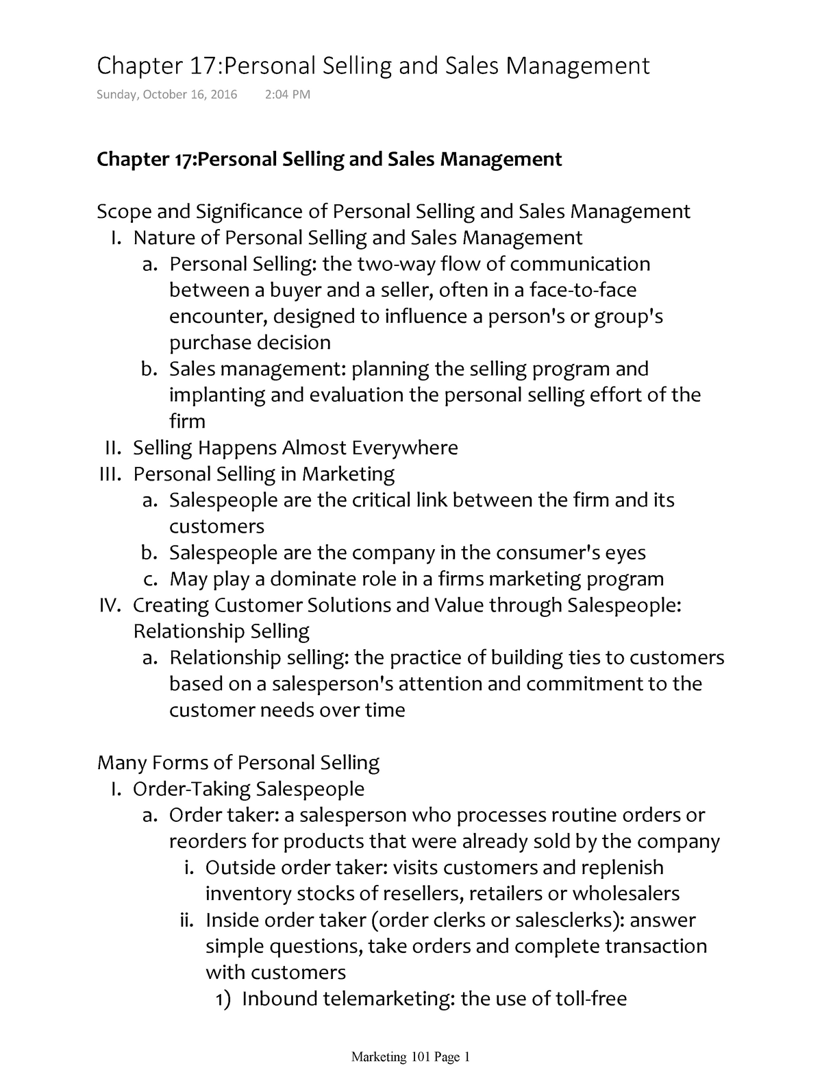 Chapter 17Personal Selling and Sales Management - MKTG 101