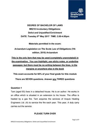 Examen 2017 - M9210: Involuntary Obligations: Delict And