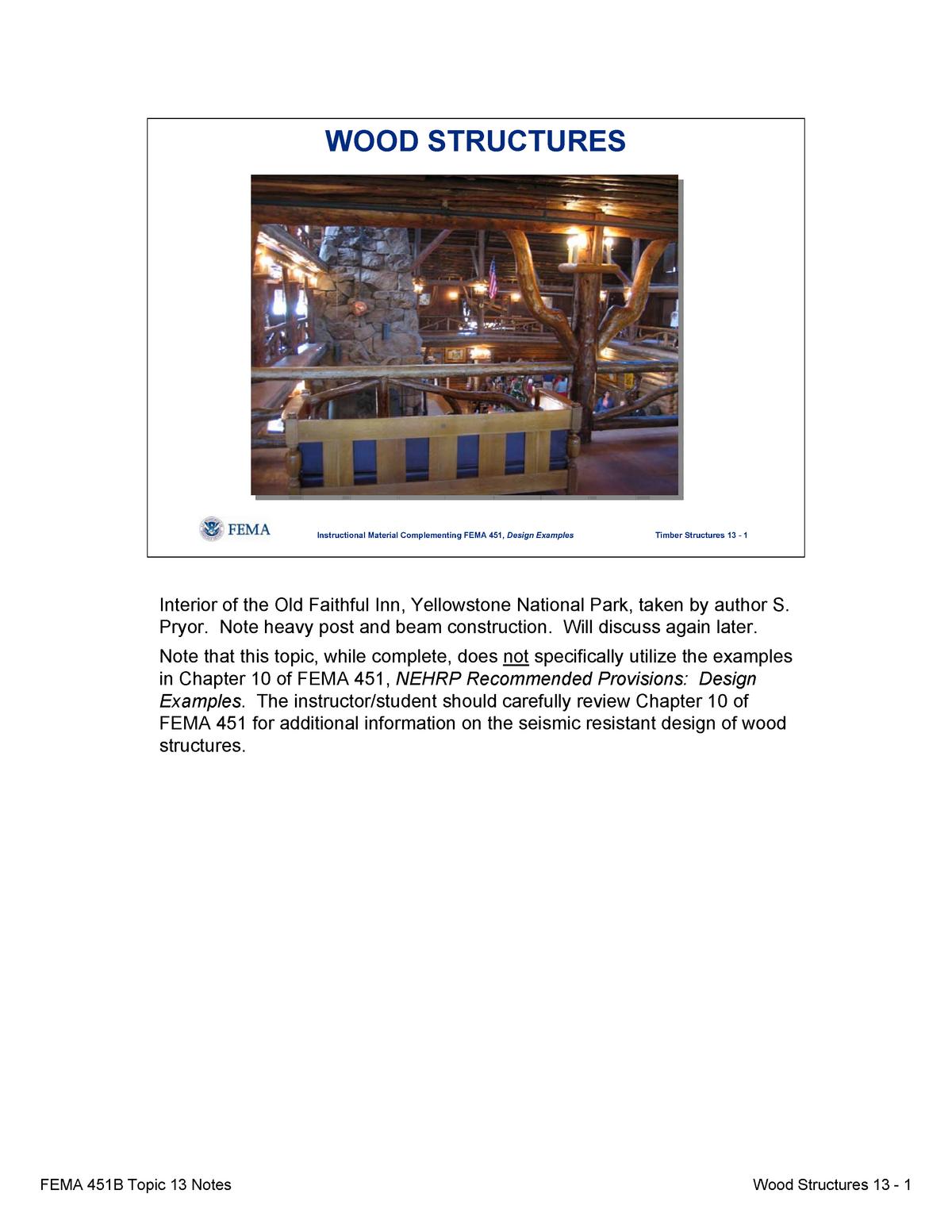 Topic 13 Seismic Designof Wood Structures Notes Civl 8119 Studocu