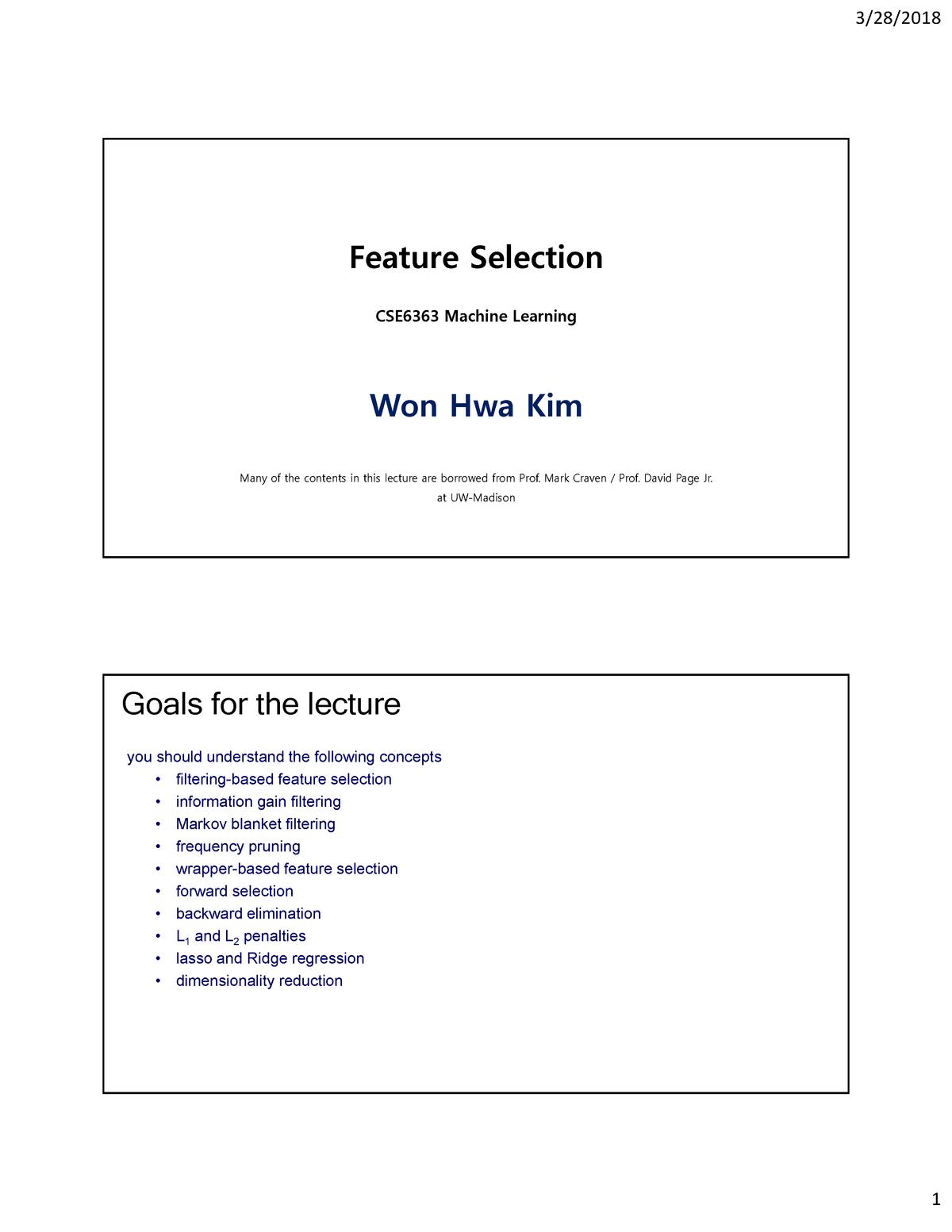 12 feature selection CSE-6363 - CSE 6364: MACHINE LEARNING - StuDocu