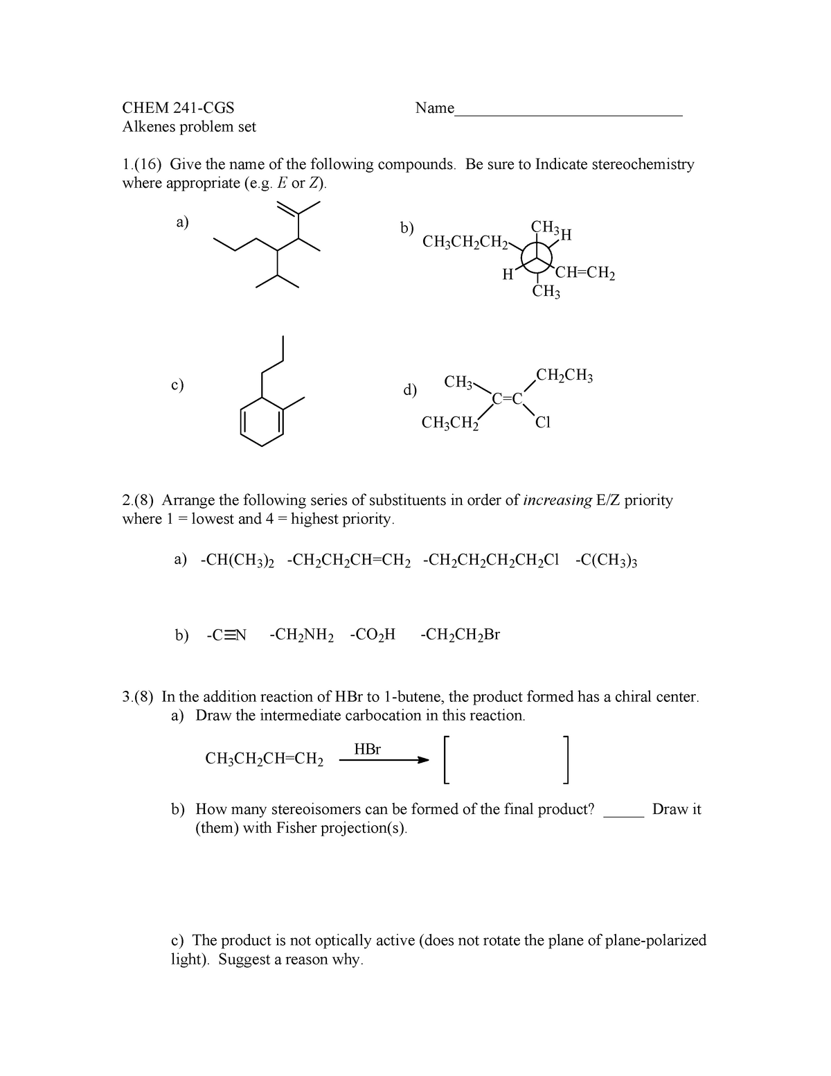 Seminar assignments - Alkenes problem set quiz with answers - CHEM