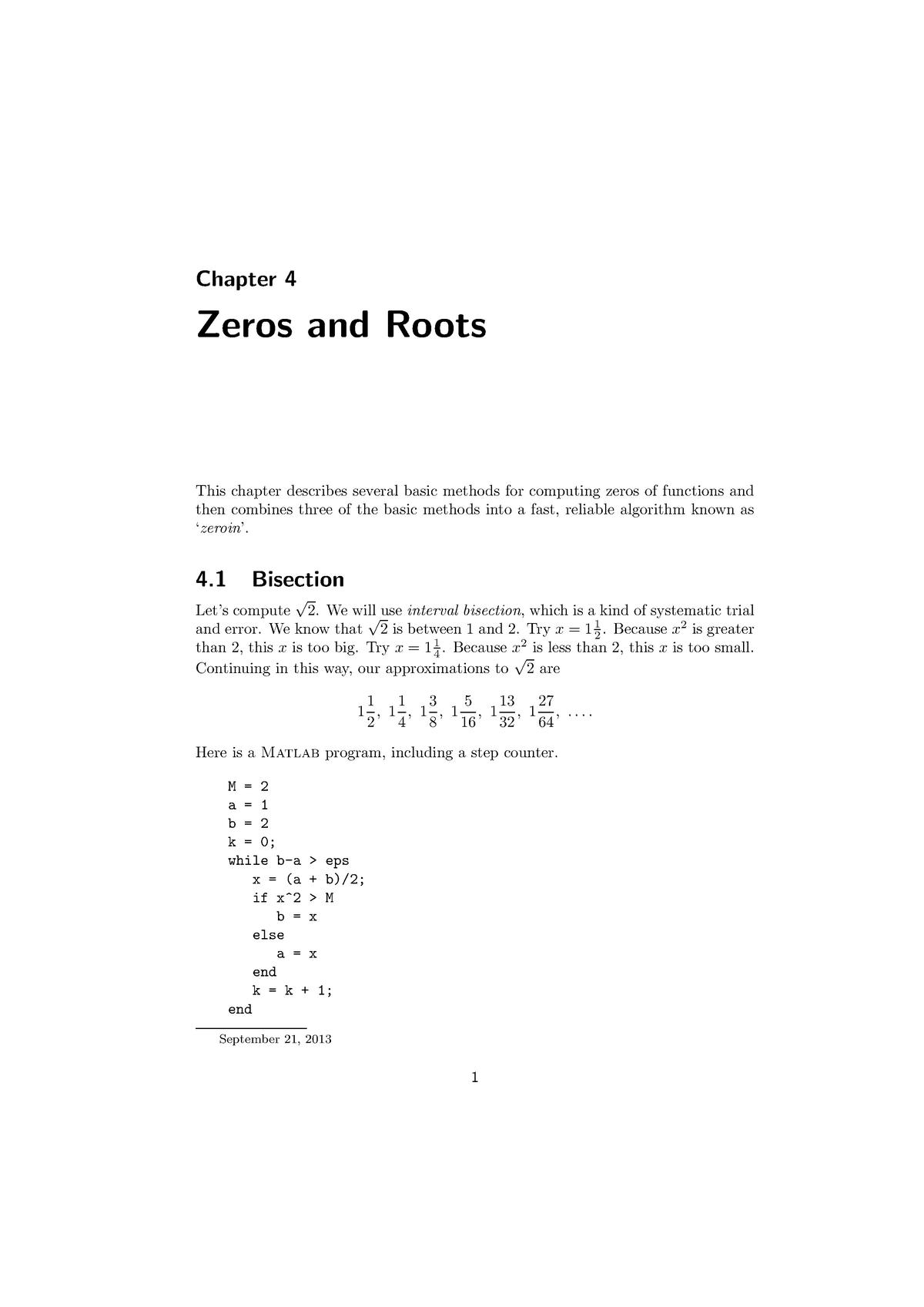 Zeros and Roots - Matlab in Engineering Mechanics ME41060