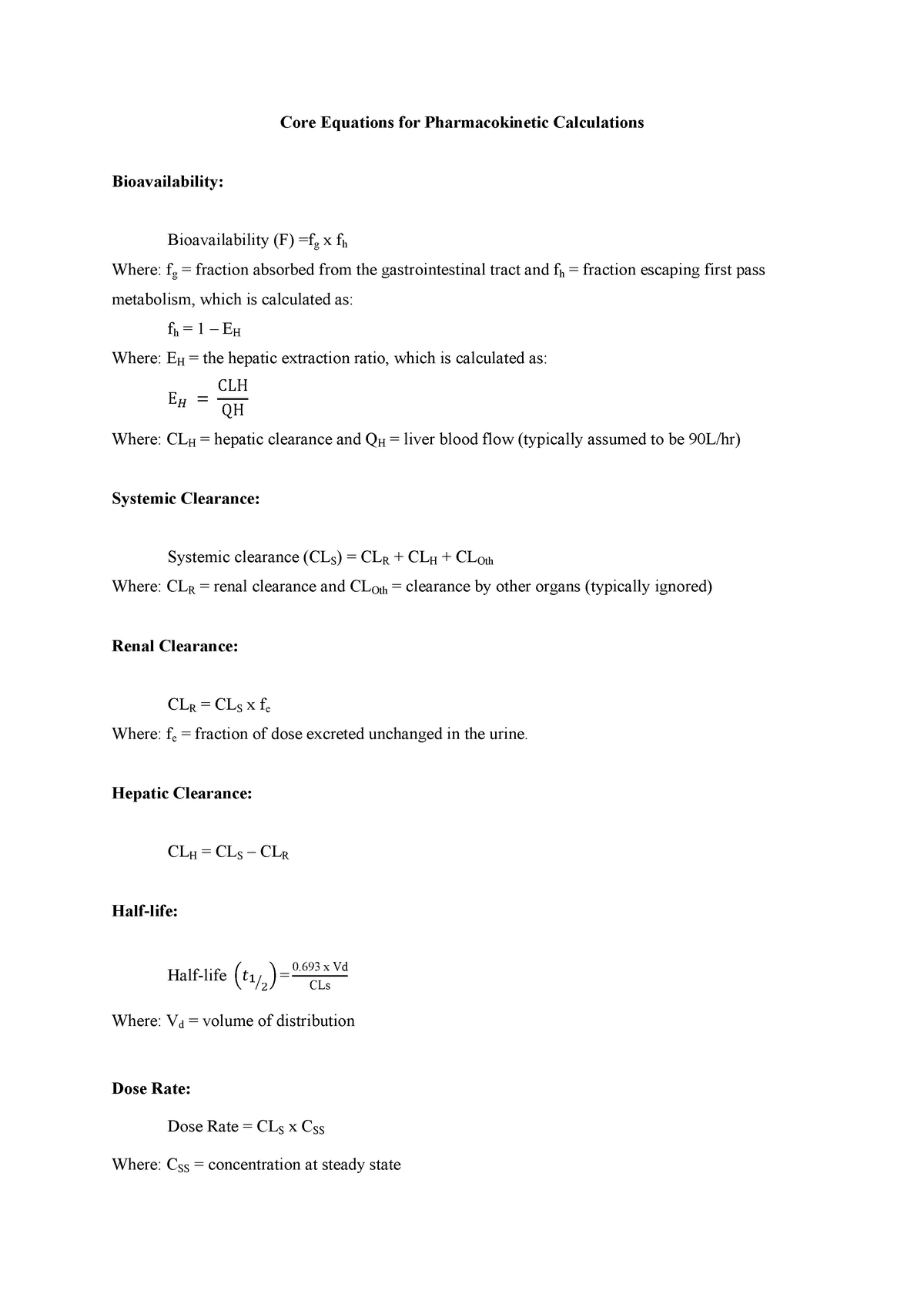 Core Equations For Pharmacokinetic Calculations Mmed9110 Studocu