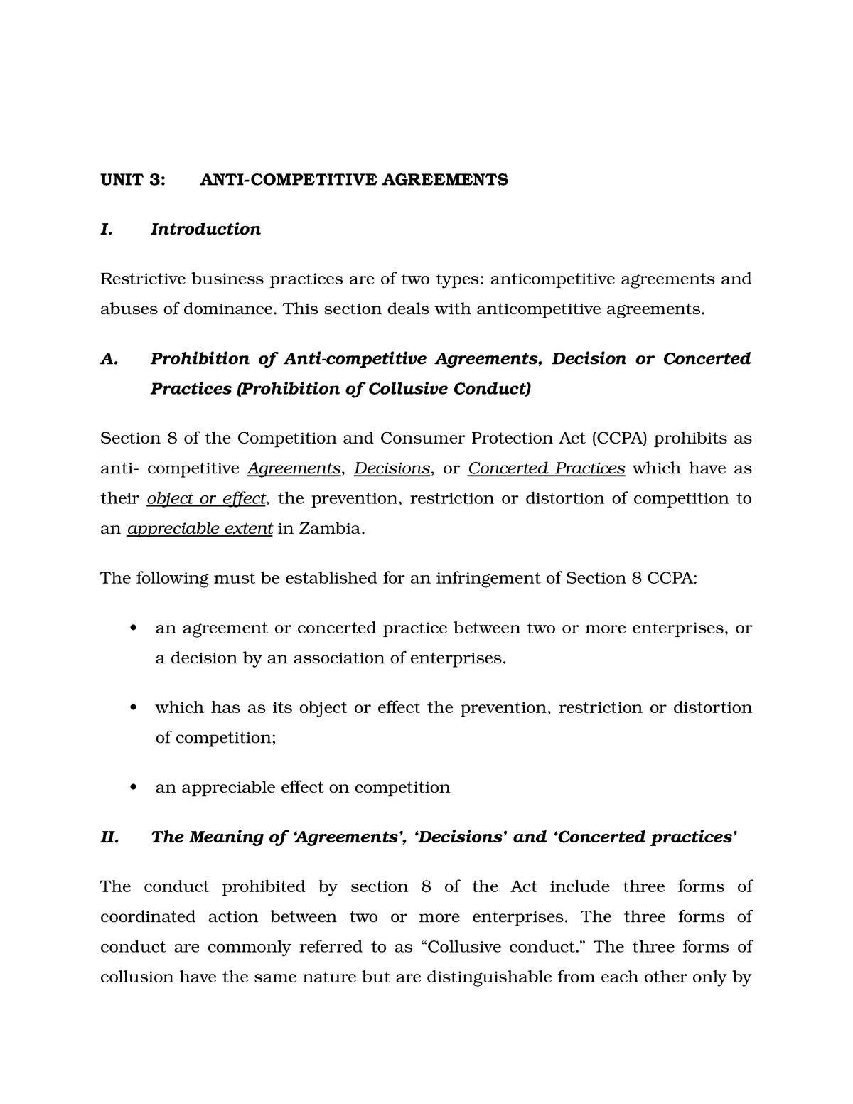 Anti-Competitive Agreements Zambia - L300: Company law - StuDocu